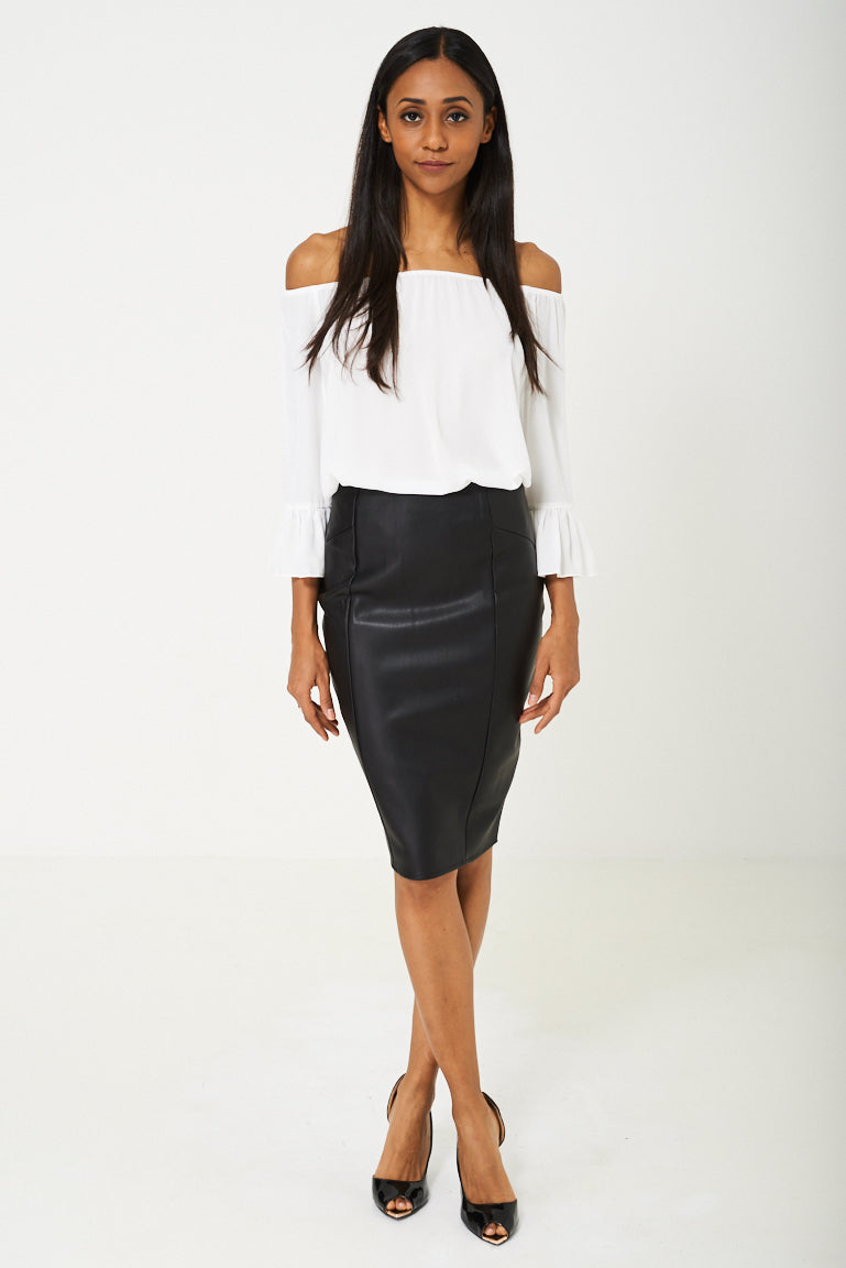 BIK BOK Faux Leather Pencil Skirt in Black, Skirts - First Impression UK