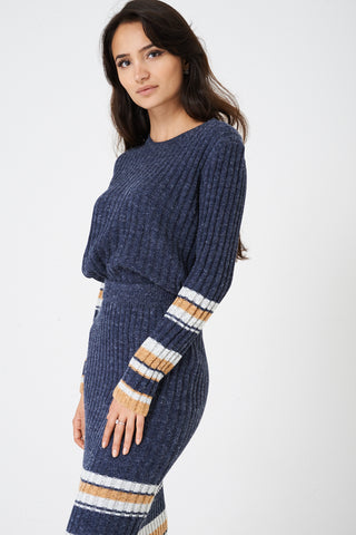 Mix and Match Blue Jumper in Rib Knit