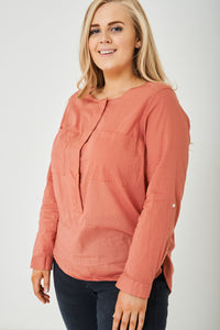 Ladies PLUS SIZE Pink Lightweight Shirt Ex Brand
