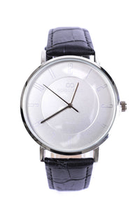Crocodile-Effect Faux Leather Strap Classic Watch