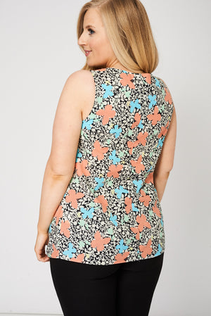 Ladies Pleat Front Sleeveless Top With Floral Pattern