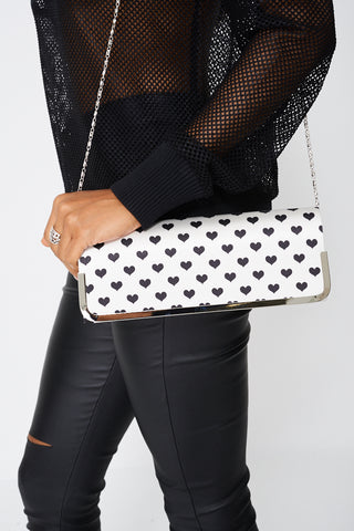 Cute Clutch Bag In Heart Print - First Impression UK