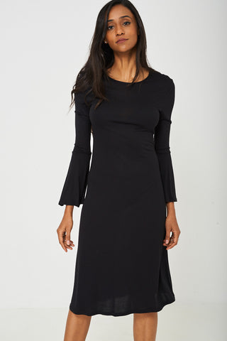 Bell Sleeve Dress in Black - First Impression UK