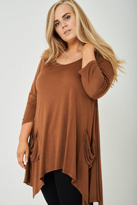 Ladies PLUS SIZE Oversized Top in Brown