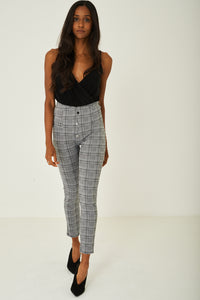 Ladies High Waist Leggings in Grey Prince of Wales Check