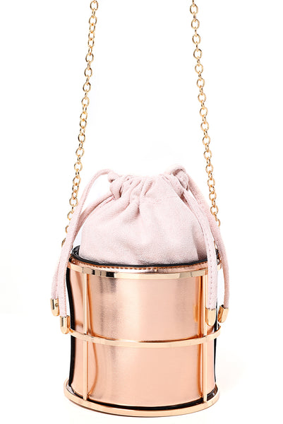 Cage Clutch Bag in Rose Gold