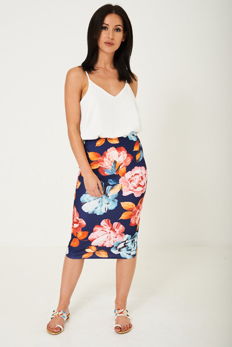 Ladies Pencil Skirt in Flower Print