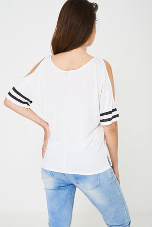 BIK BOK Off Shoulder Baseball Top in White, Tops - First Impression UK