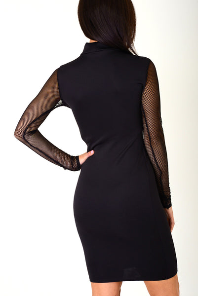 Black Bodycon Dress with Choker Neck, Dresses - First Impression UK