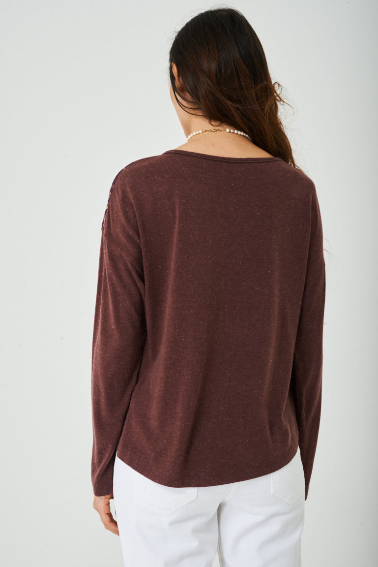 Face Print Top in Burgundy