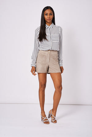 Faux Suede High Waist Shorts Ex-Branded Available In Plus Sizes - First Impression UK