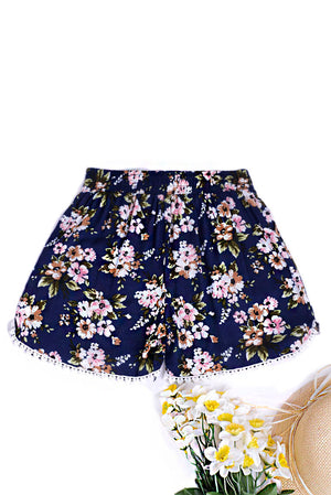 Ladies Crochet Detail Shorts in Floral Print