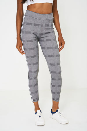 Ladies Dog Tooth Check Side Stripe Legging