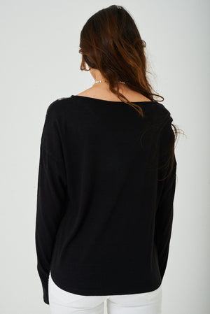 Ladies Face Print Top in Black