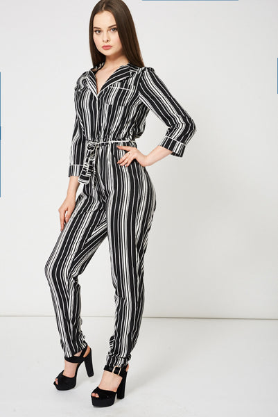 Black And White Striped Jumpsuit, Jumpsuits & Playsuits - First Impression UK
