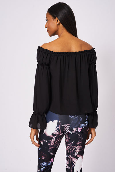 Black Off Shoulder Top Ex-Branded Available In Plus Sizes - First Impression UK