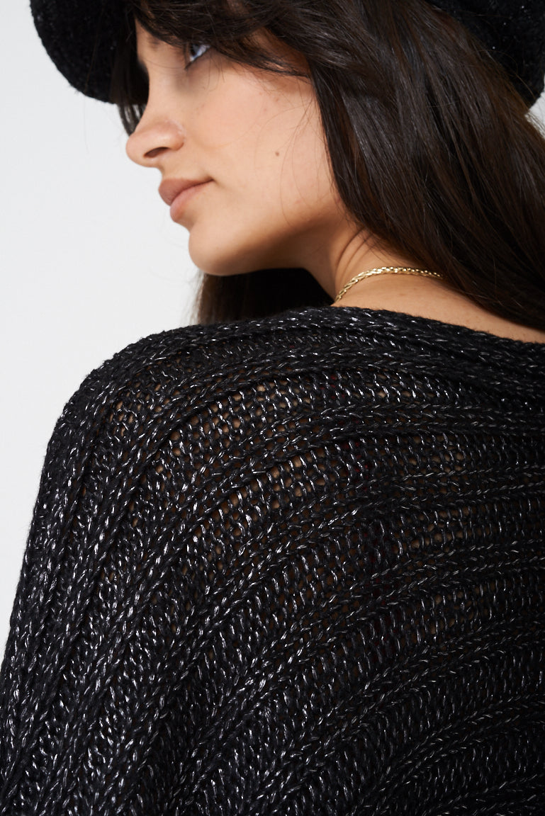 Black Poncho with Metallic Insert, Knitwear - First Impression UK