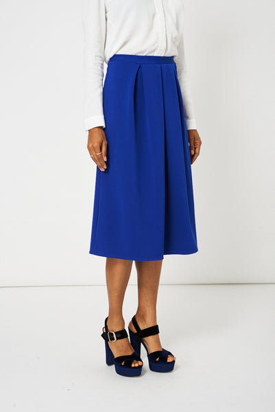 Blue Full Midi Scuba Skirt Available In plus Sizes, Skirts - First Impression UK