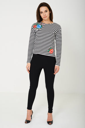Ladies Striped Top with Embroidery Ex Brand