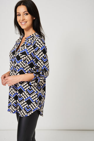 Abstract Pattern Buttons Front Top, Tops - First Impression UK