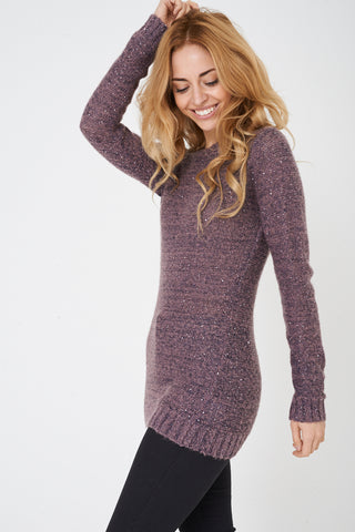 Ladies Mixed Yarn Sequin Accent Jumper Ex Brand