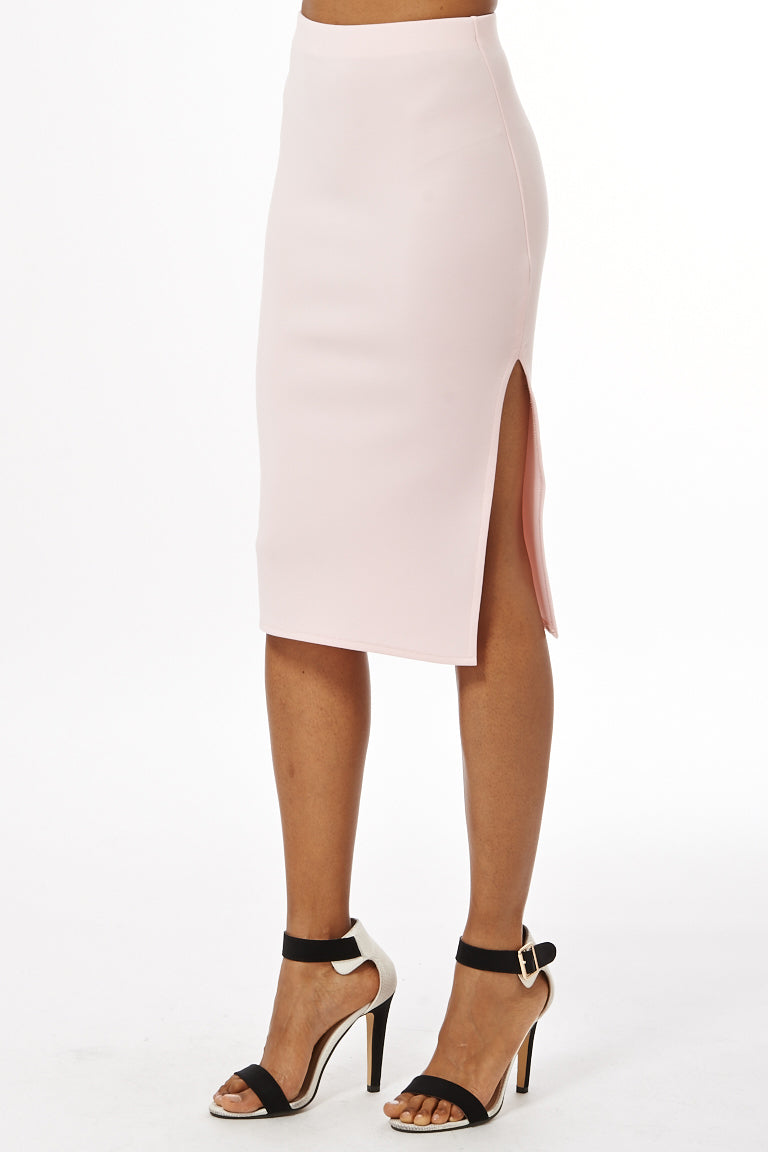Ladies Scuba Midi Skirt With Side Split