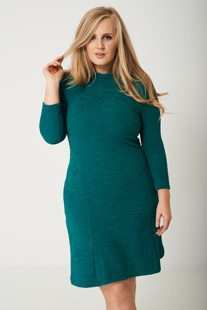 Ladies PLUS Textured Skater Dress in Green