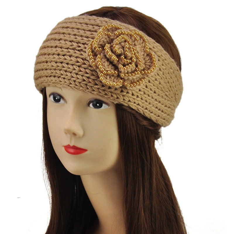 Buy Handmade Flower Crochet Headband With Pearl At First Impression
