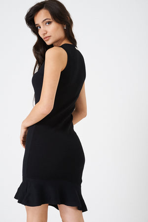 Ladies Knitted Fishtail Midi Dress in Black