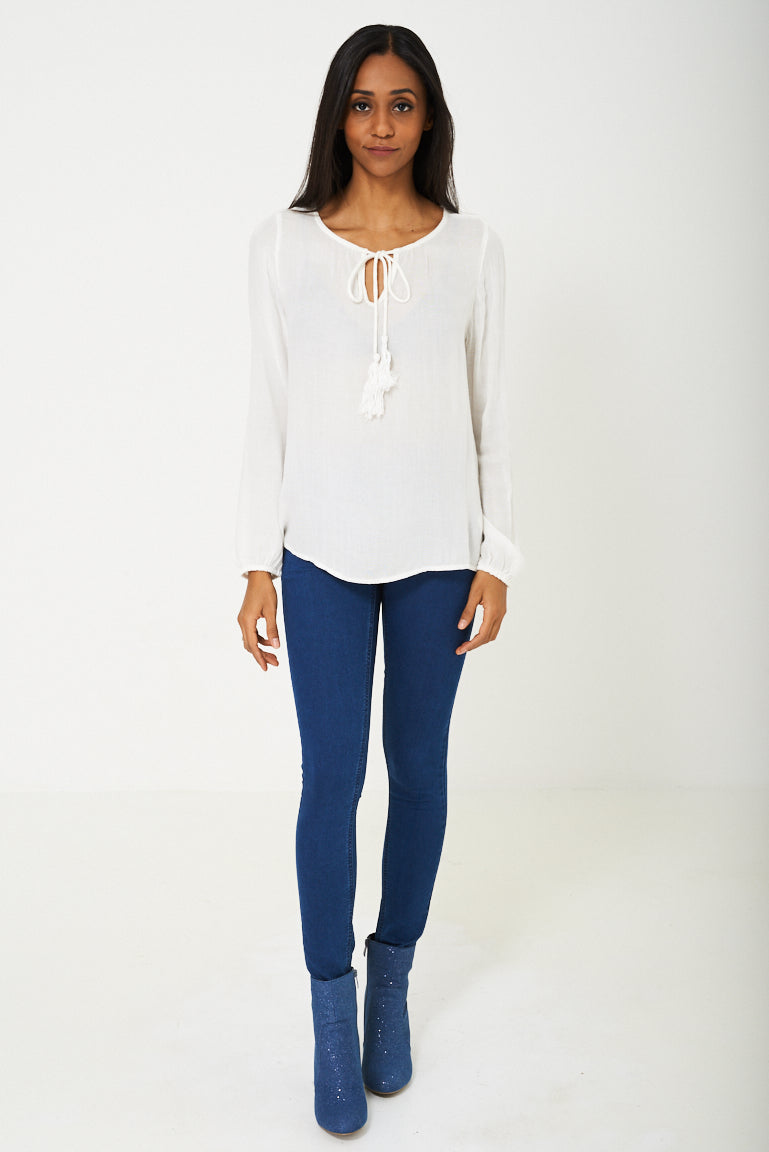 BIK BOK Lightweight Top in Cream, Tops - First Impression UK