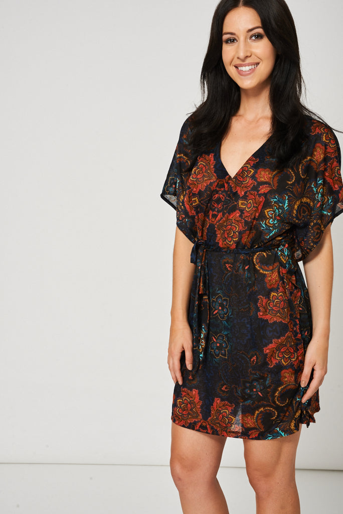 Black Belted Dress With Floral Print Ex-Branded - First Impression UK