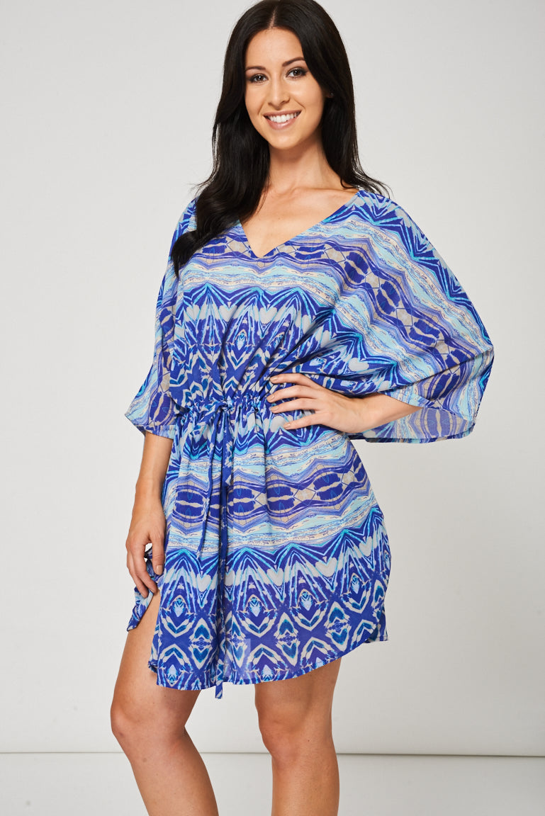 Blue Beach Cover-Up With Abstract Pattern, Tops - First Impression UK