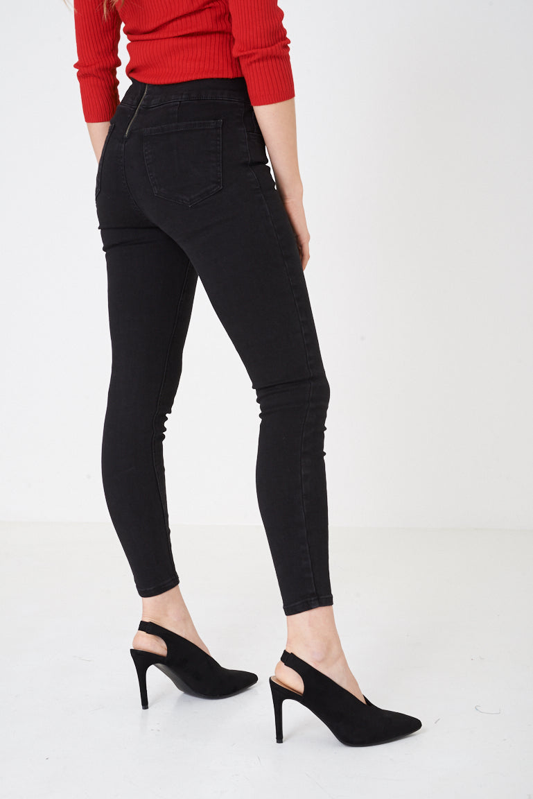 Ladies Corset Detail Black Skinny Jeans Ex Brand
