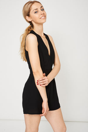 Ladies Necklace Detail Playsuit In Black