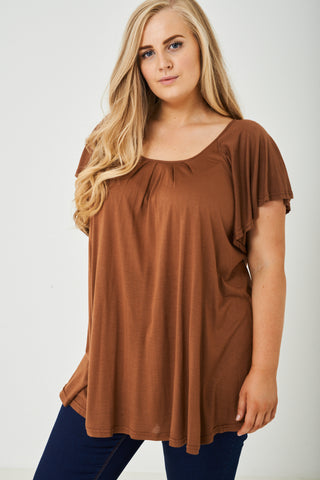 PLUS SIZE Flute Sleeve Top in Brown