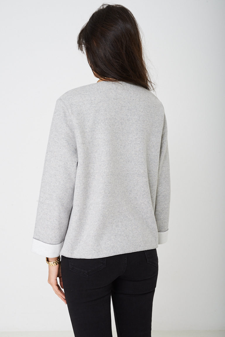 Ladies Fleece Cardigan in Grey Ex Brand