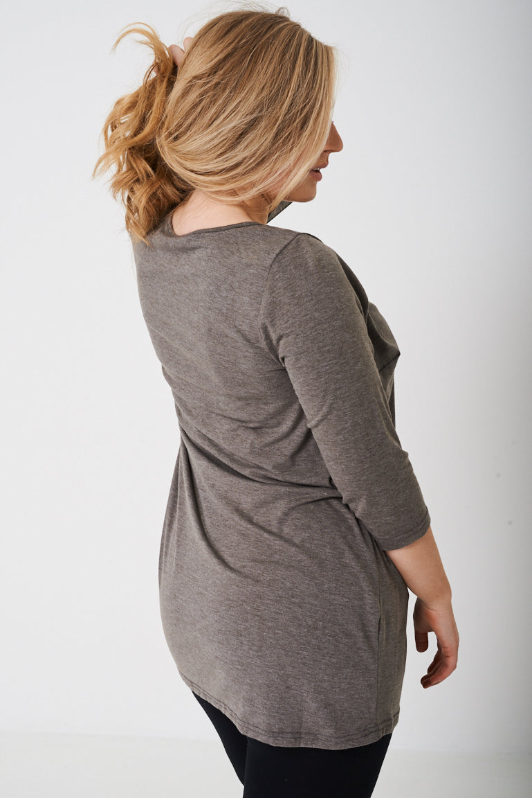 PLUS BASIC Tunic Top in Mid Grey - First Impression UK