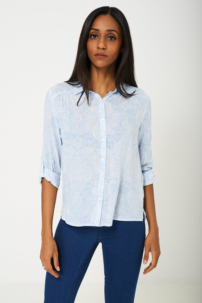 BIK BOK Blue Paisley Print Shirt - First Impression UK
