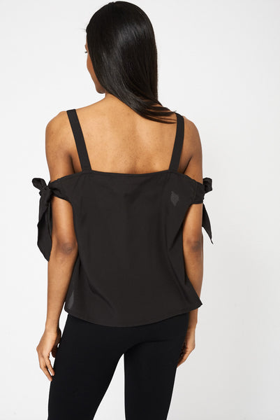 Black Bow Tie Sleeve Bardot Top, Tops - First Impression UK