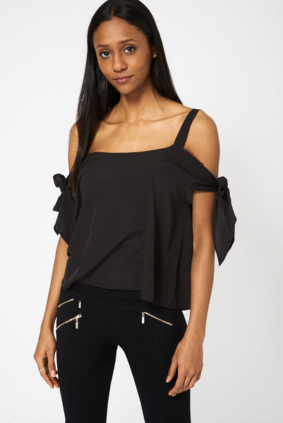 Black Bow Tie Sleeve Bardot Top - First Impression UK
