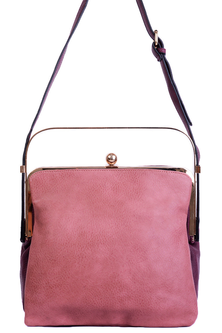 Ladies Triple Compartment Pink Bag with Metallic Handle