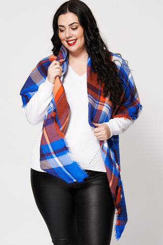 Knitted Check Soft Frayed Hem Large Scarf - First Impression UK