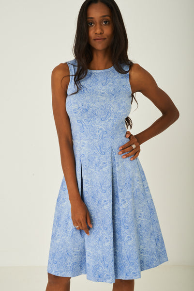 Blue Paisley Skater Dress with Pleat Detail, Dresses - First Impression UK
