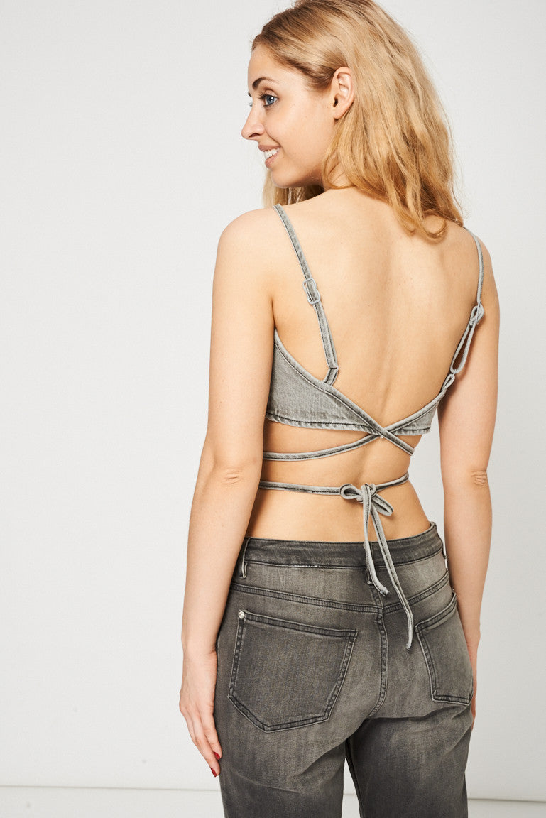 Grey Denim Bralette Crop Top Ex-Branded - First Impression UK