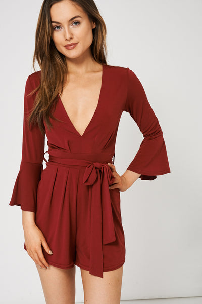 Burgundy V-Neck Belted Playsuit Ex-Branded