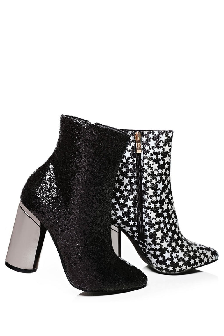 Ladies Two Faced Glitter Ankle Boots