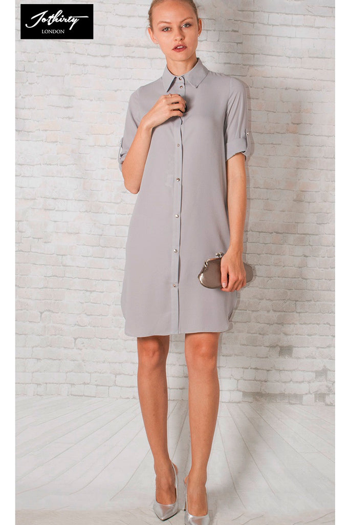 18102b5d98286 Buy JOTHIRTY Shirt Mini Dress in Grey at First Impression UK for ...