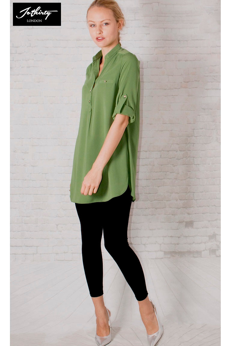 Ladies JOTHIRTY Roll-Up Sleeve Tunic Shirt in Green