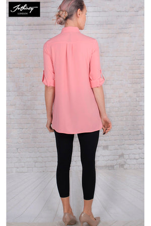 Ladies JOTHIRTY Tunic Shirt with Chest Pocket in Pink