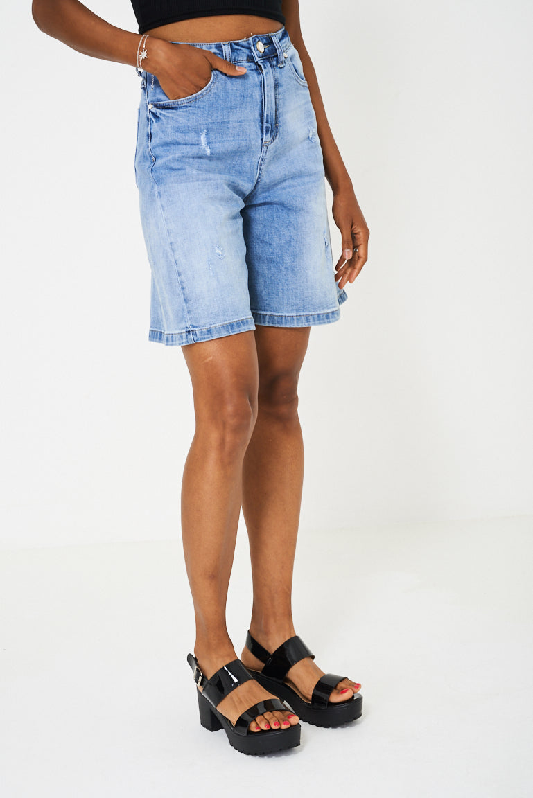 Ladies Culotte Blue Denim Shorts
